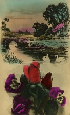 Hombre en una embarcación en un río, tarjeta postal