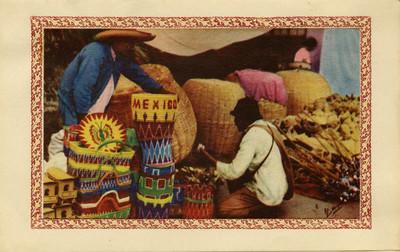 Vendedor de objetos de mimbre, tarjeta navideña