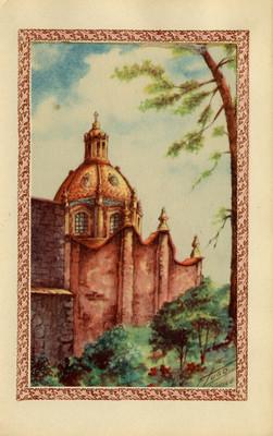 Cúpula y barda de una iglesia, tarjeta navideña