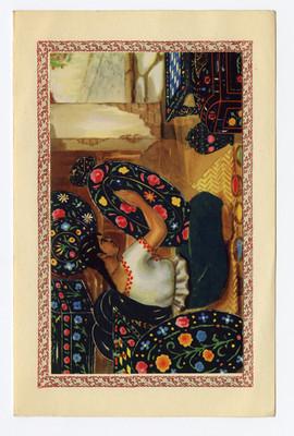 Mujer decora platos de cerámica, tarjeta navideña