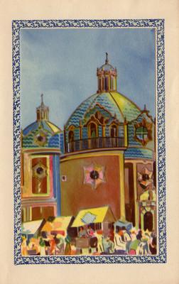 Tianguis junto a una iglesia, tarjeta navideña