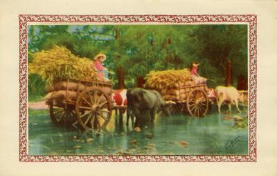 Niños conducen animales con carga, tarjeta navideña