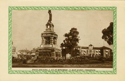 """""""Monumento a Cuauhtémoc y estación Colonia"""", tarjeta navideña"""