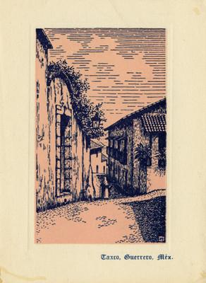 Calle en Taxco, tarjeta navideña