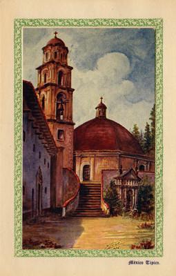 """""""México típico"""", Sacromonte, tarjeta postal integrada en tarjeta navideña"""