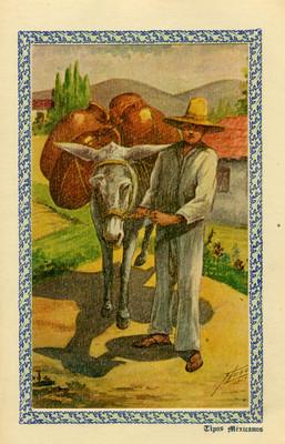 """Tipos mexicanos"", tarjeta postal integrada en tarjeta navideña"