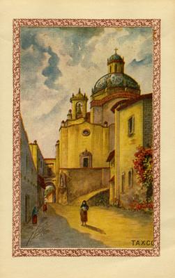 """""""Taxco"""" al fondo la iglesia de Santa Prisca, tarjeta navideña"""