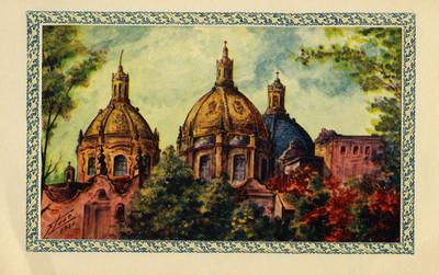 Cúpulas de una iglesia, tarjeta navideña