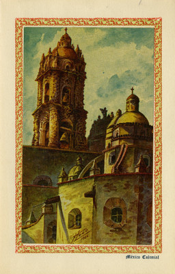 """México colonial"", tarjeta postal integrada a una tarjeta navideña"