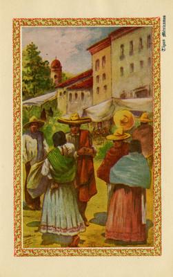"""""""Tipos mexicanos"""", personas en un tianguis, tarjeta postal"""