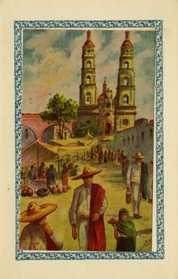 Gente en un tianguis, tarjeta postal