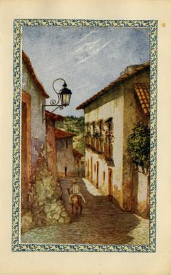 Hombre en una calle, tarjeta postal