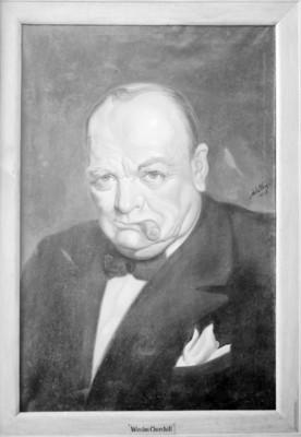 Winston Churchill, reprografía de una pintura