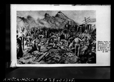 Descarrilamiento del tren de peregrinos que va de Amecameca a la capital, dibujo