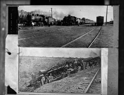 Personas en los patios de carga de una estación ferrocarrilera, dos tomas distintas