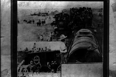 Revolucionarios viajan en un tren