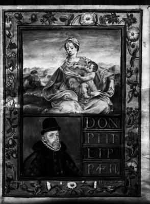 Carátula con el retrato de Felipe II, Rey de España y en la parte superior una imagen de una virgen, reprografía