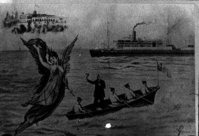 Porfirio Díaz dando a México el último adiós antes de embarcarse en el Ipiranga (pintura)