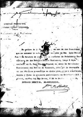 Nombramiento extendido por Francisco I. Madero a Manuel Urquidi, designándolo gobernador provisional de Tlaxcala