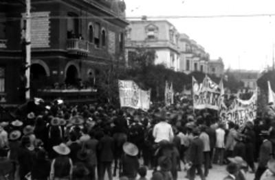 Manifestación en apoyo a Madero frente a su casa en la Colonia Roma