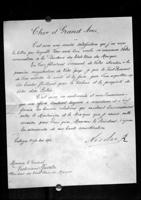 Comunicado del zar Nicolás II donde reconoce el gobierno de Victoriano Huerta
