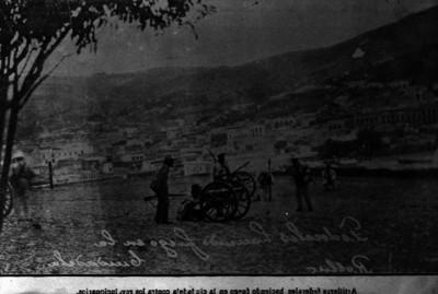 Federales disparan artillería hacia el centro de la ciudad de Zacarecas, reprografía bibliográfica