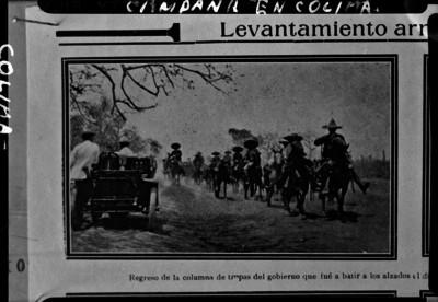 Fuerzas del gobierno regresan a la capital de Colima después de haber derrotado a los alzados
