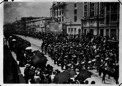 Banda de guerra de la Brigada Blanco encabeza desfile militar