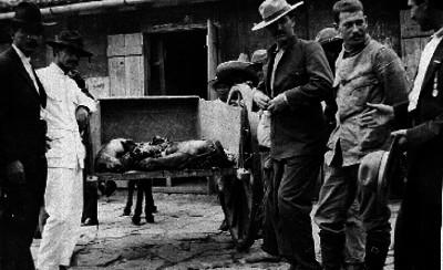 Hombres acarrean cadáveres dentro de una carreta
