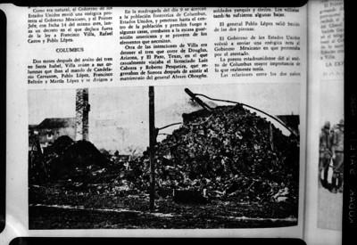 Ruinas del Hotel Comercio de Columbus despues del ataque de las tropas villistas