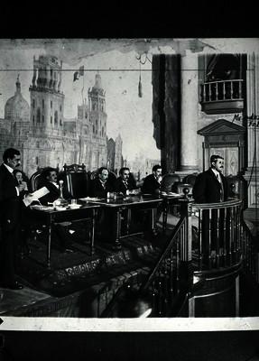 Miembros de la Mesa Directiva del Congreso Constituyente durante sesión
