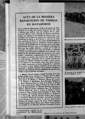 """""""Acta de la primera repartición de tierras en Matamoros"""", reprografía"""