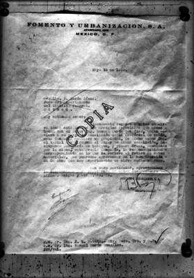 Documento del departamento de fomento y urbanización del distrito Federal