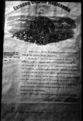 Documento en el que se nombra a Plutarco Elías Calles como Ministro de Guerra y Marina