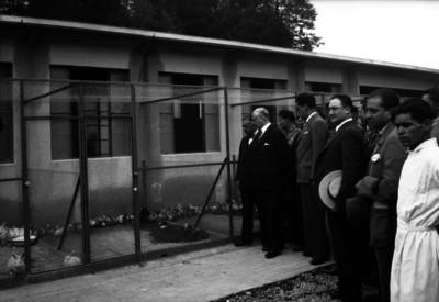 Pascual Ortiz Rubio visitando un criadero de conejos