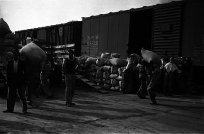 Trabajadores trasladando la mercancía del ferrocarril a camionetas