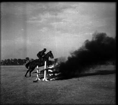 Militar a caballo realizando prácticas
