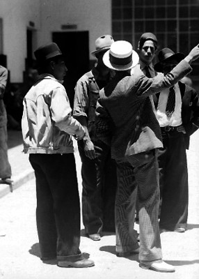 Ferrocarrileros en la estación Buenavista