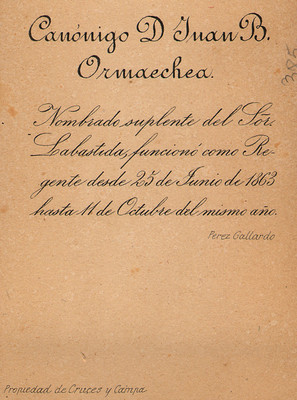Canónigo D. Juan B. Ormaechea, retrato