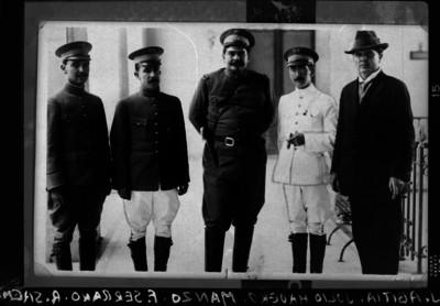 Jesús Abitia fotógrafo, Julio Madero, Francisco Manzo y otros militares, retrato de grupo
