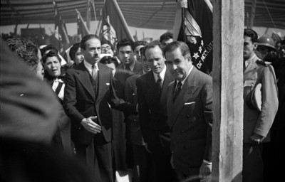 Manuel Ávila Camacho y funcionarios en la colocación de la primera piedra en Ciudad Universitaria