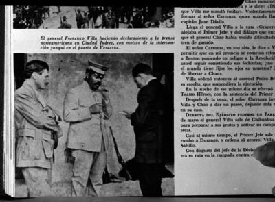 Francisco Villa hace declaraciones a la prensa norteamericana con motivo de la intervención yanqui en el puerto de Veracruz, reprografía