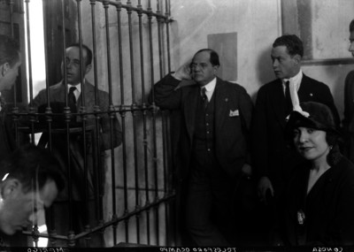 Telésforo Ocampo y otros hombres durante la declaración de Merigo en el Ministerio Público