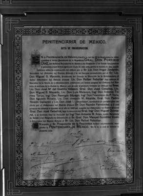 Acta de inauguración de la penitenciaría de México