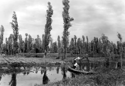 Canal, hombre sobre tranijera