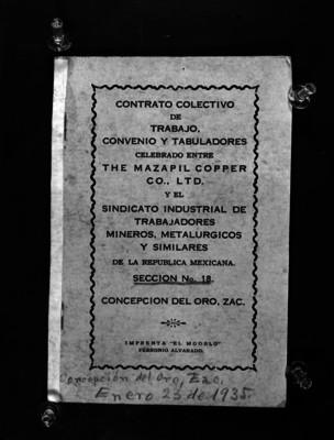 Portada del Contrato Colectivo de Trabajo Convenio y Tabuladores celebrado ante The Mazapil Copper Co., TLD