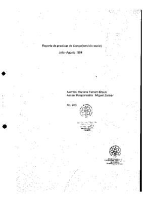Reporte de prácticas de campo (servicio social): julio - agosto 1984