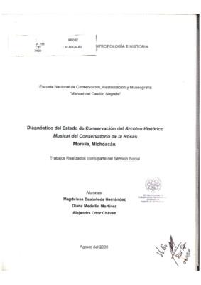 Archivo histórico musical del conservatorio de las  Rosas, Morelia, Michoacán: Diagnóstico de su estado de conservación