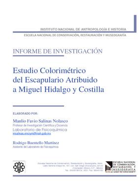 Estudio colorimétrico del Escapulario atribuido a Miguel Hidalgo y Costilla: informe de investigación