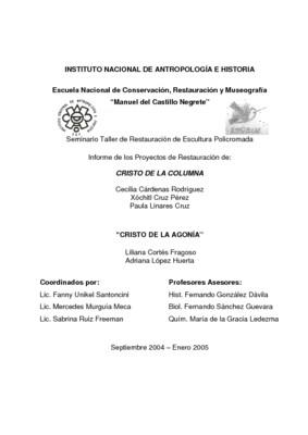 Informe de los Cristos de Chihuahua (Cristo de la columna y Cristo de la agonía): Informe de los proyectos de restauración